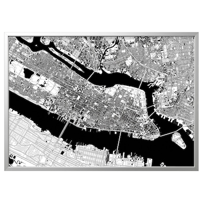 BJÖRKSTA Picture with frame, Manhattan from above/aluminium-colour, 140x100 cm