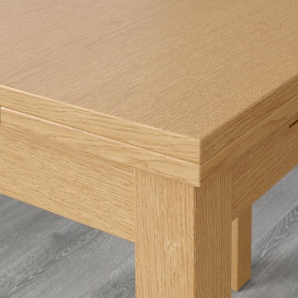 BJURSTA Extendable table, oak veneer, 140/180/220x84 cm