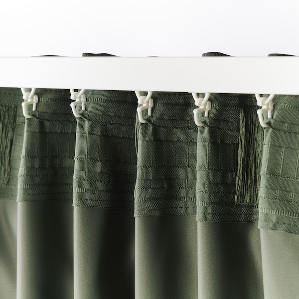 BLÅHUVA Block-out curtains, 1 pair, green, 145x250 cm