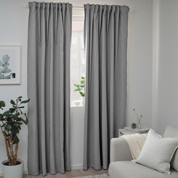 BLÅHUVA Room darkening curtains, 1 pair, light grey, 145x250 cm