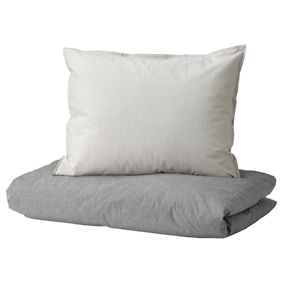 BLÅVINDA Quilt cover and 2 pillowcases, grey, 200x200/50x60 cm