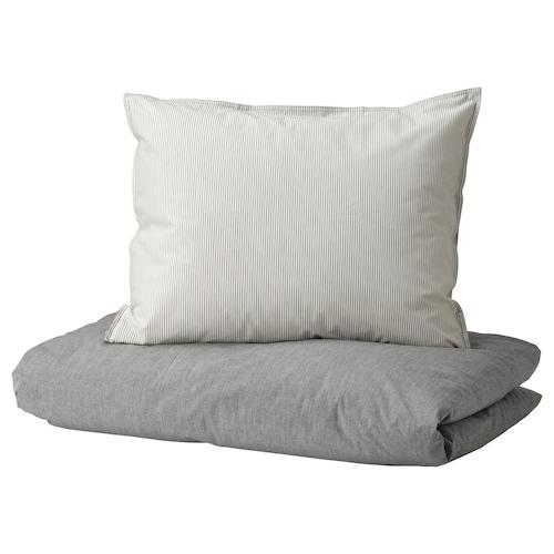 BLÅVINDA quilt cover and pillowcase grey 200 /inch² 1 pack 200 cm 150 cm 50 cm 60 cm