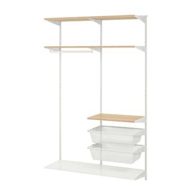 BOAXEL Wardrobe combination, white/oak, 125x40x201 cm