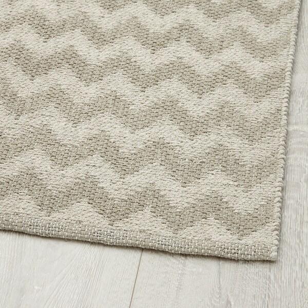 BREDEVAD Rug, flatwoven, zigzag pattern beige, 75x150 cm
