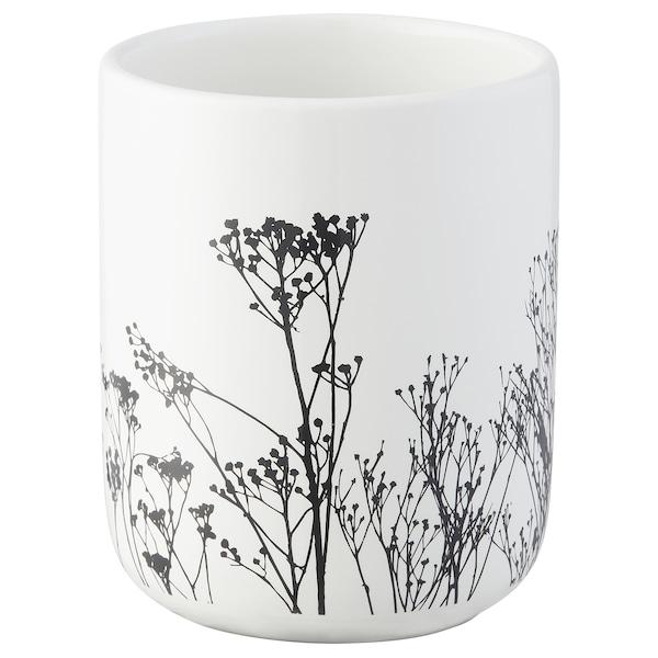 BREDSELET Toothbrush holder, white/black/flower