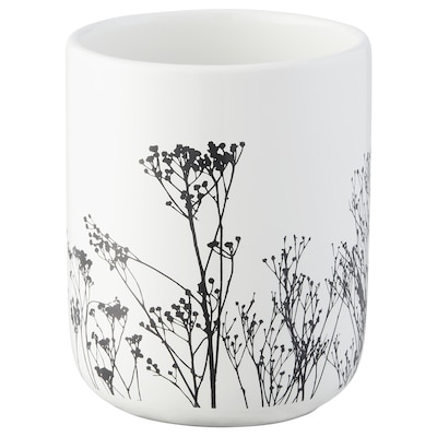 BREDSELET Toothbrush holder, white/black/flower