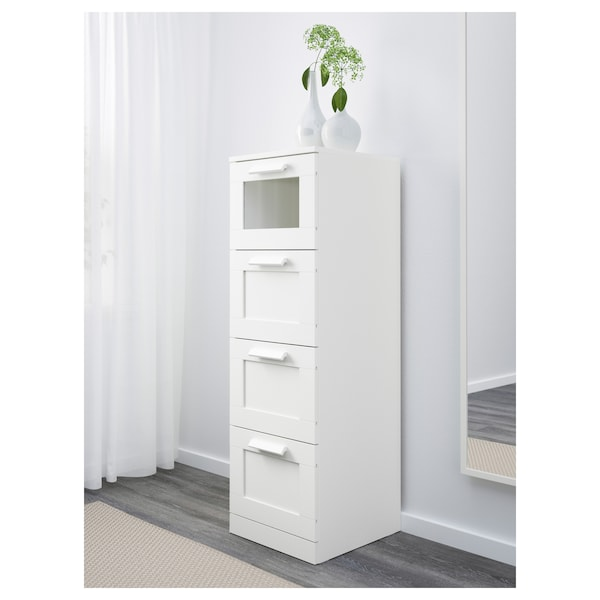 BRIMNES Chest of 4 drawers, white/frosted glass, 39x124 cm