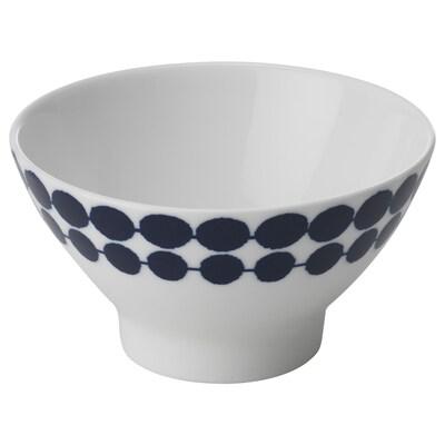 BRUSANDE Rice bowl, blue/white, 12 cm