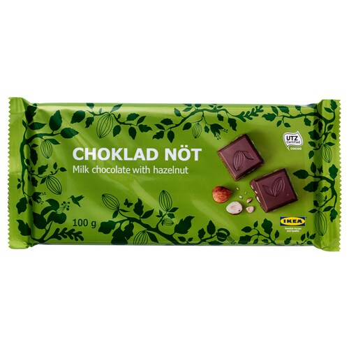 CHOKLAD NÖT milk chocolate bar w hazelnuts UTZ certified 100 g