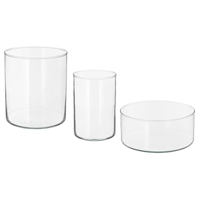 CYLINDER Vase/bowl, set of 3, clear glass