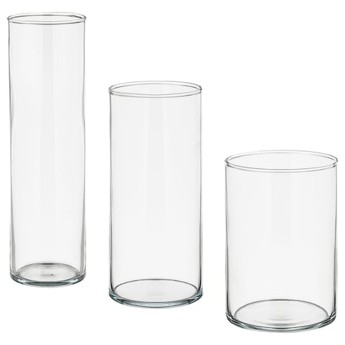 CYLINDER vase, set of 3 clear glass