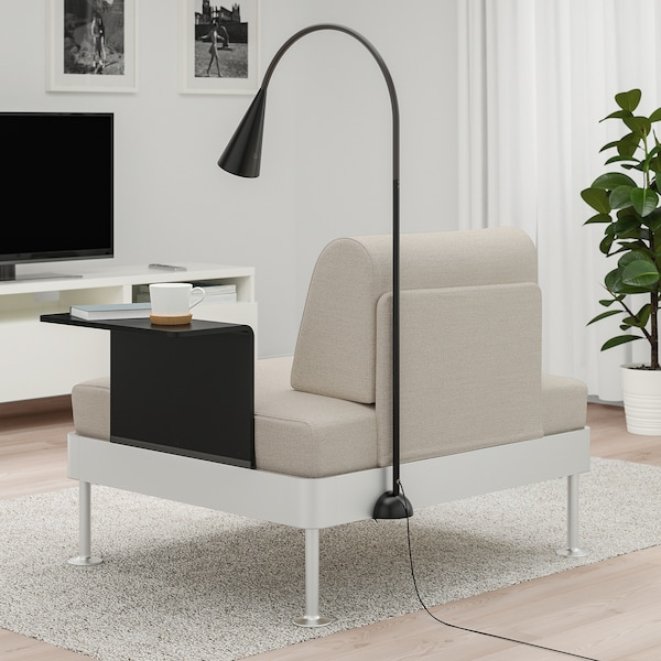 DELAKTIG Armchair with side table and lamp, Gunnared beige