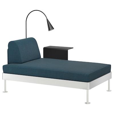 DELAKTIG Chaise longue w side table and lamp, Hillared dark blue