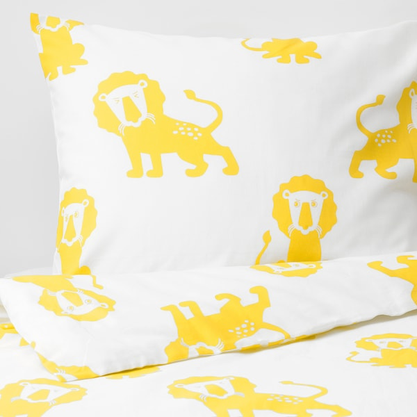 DJUNGELSKOG Quilt cover and pillowcase, lion/yellow, 150x200/50x60 cm