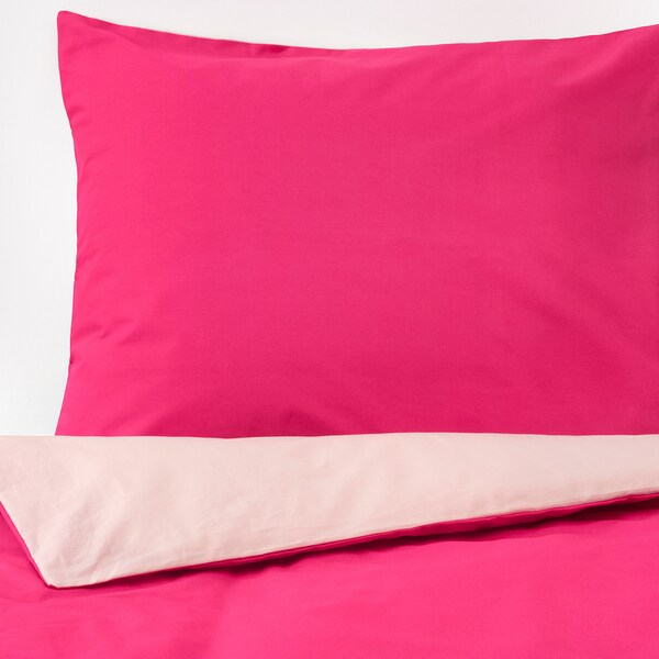 DVALA quilt cover and 2 pillowcases pink 152 /inch² 2 pack 200 cm 200 cm 50 cm 60 cm