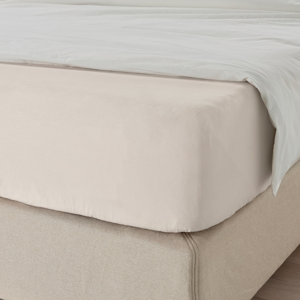 DVALA Fitted sheet, beige, 90x200 cm