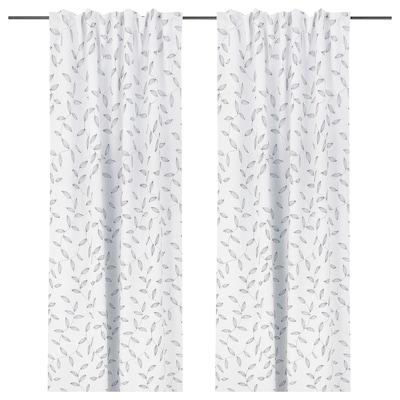 EBBASTINA Room darkening curtains, 1 pair, beige/leaf, 145x135 cm