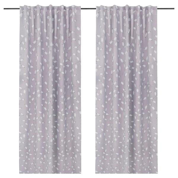 EBBASTINA Room darkening curtains, 1 pair, grey/leaf, 145x178 cm