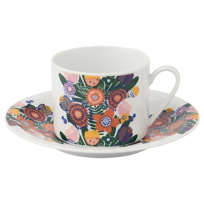 EFTERSE Cup with saucer, flower patterned, 18 cl
