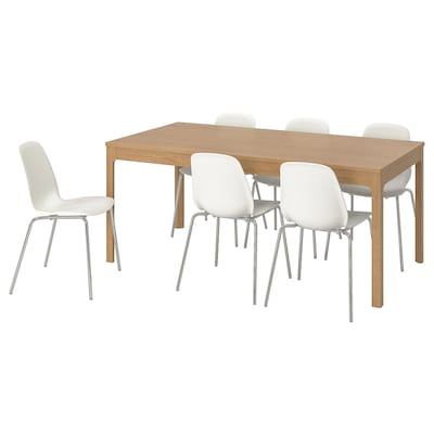 EKEDALEN / LEIFARNE Table and 6 chairs, oak/white, 180/240 cm