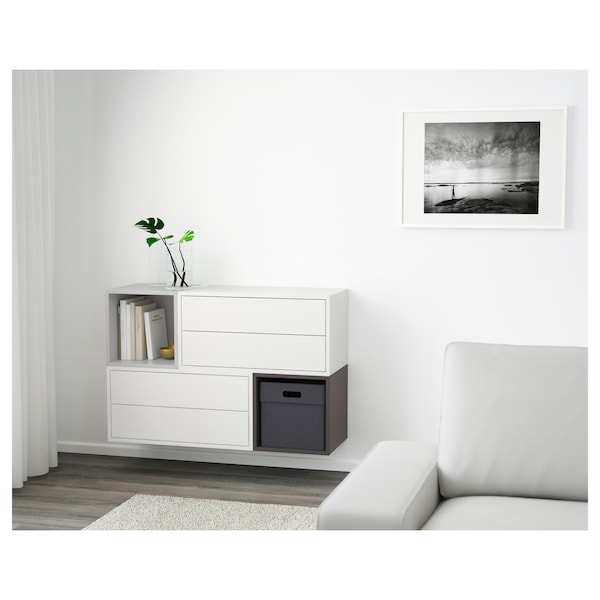 EKET Wall-mounted cabinet combination, white/light grey/dark grey, 105x35x70 cm