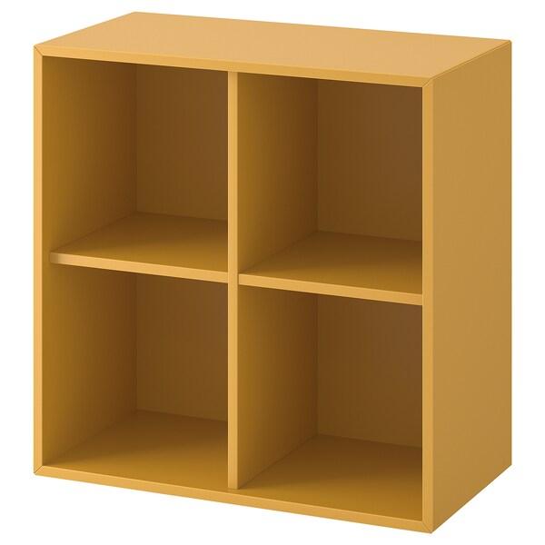 EKET Wall-mounted shelving unit w 4 comp, golden-brown, 70x35x70 cm