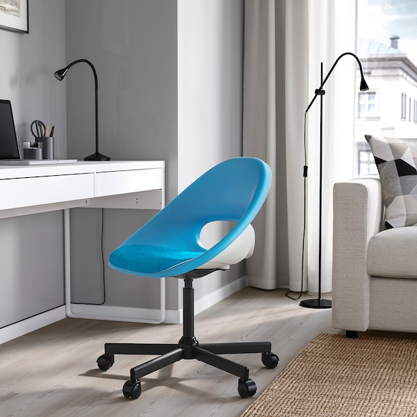ELDBERGET / MALSKÄR Swivel chair with pad, blue/black