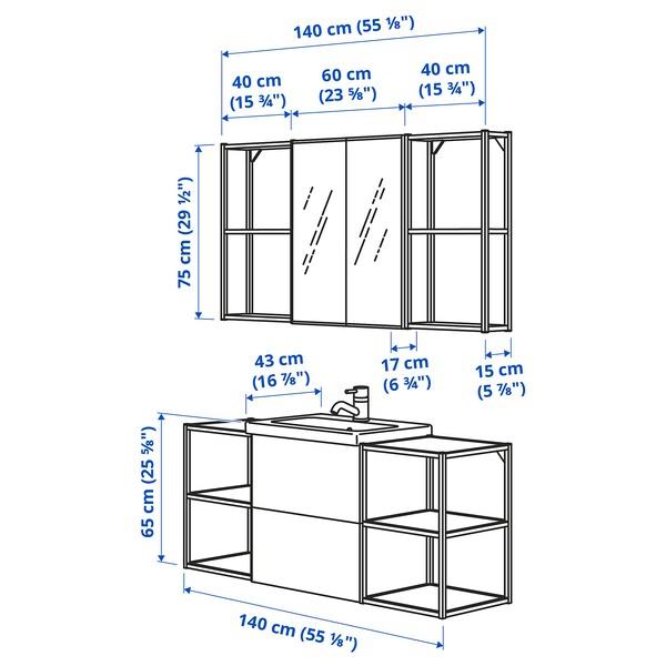 ENHET / TVÄLLEN Bathroom furniture, set of 18, white/anthracite Pilkån tap, 140x43x65 cm