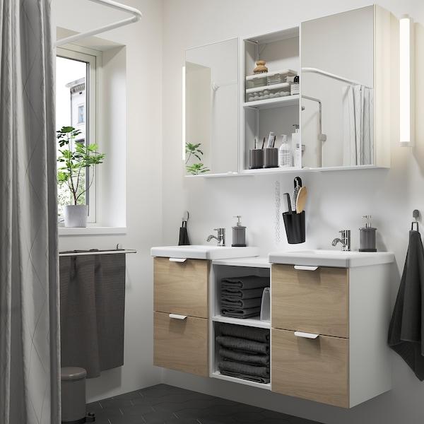 ENHET / TVÄLLEN Bathroom furniture, set of 22, oak effect/white Pilkån tap, 124x43x65 cm