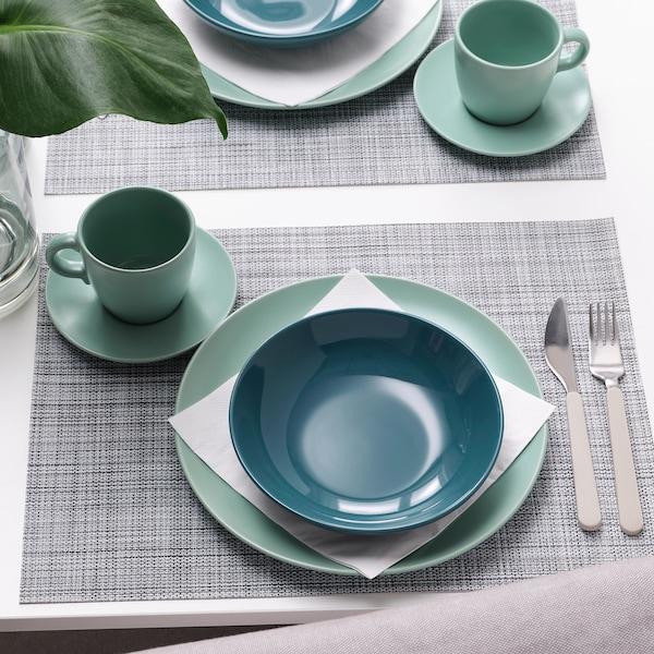 FÄRGKLAR Deep plate, glossy dark turquoise, 19 cm
