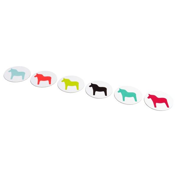 FÄRSKVARA coaster horse/assorted colours 9 cm 6 pack