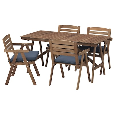 FALHOLMEN Table+4 chairs w armrests, outdoor, light brown stained/Frösön/Duvholmen blue