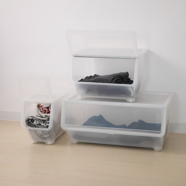 FIRRA Box with lid, transparent, 44.5x42x31 cm