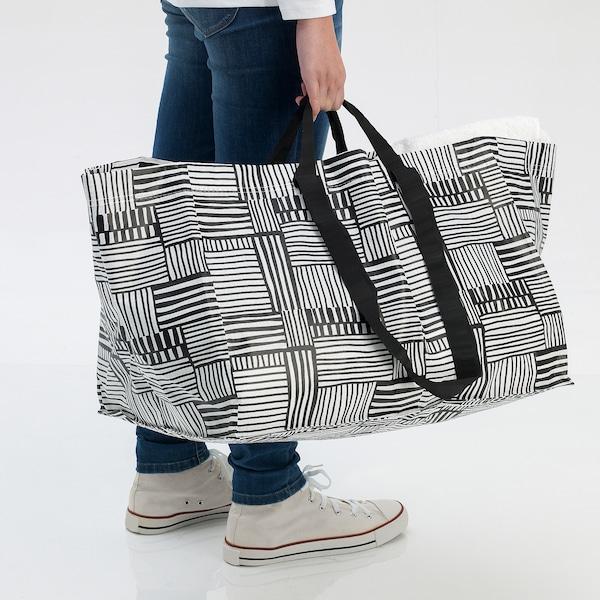 FISSLA Carrier bag, large, white/black, 71 l