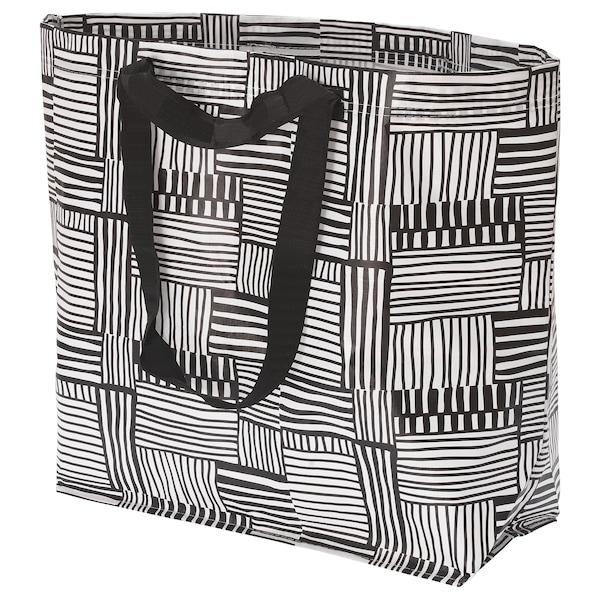FISSLA Carrier bag, medium, white/black, 36 l