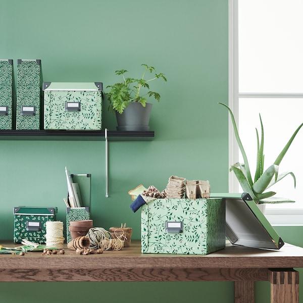 FJÄLLA Storage box with lid, light green/flower patterned, 25x36x20 cm