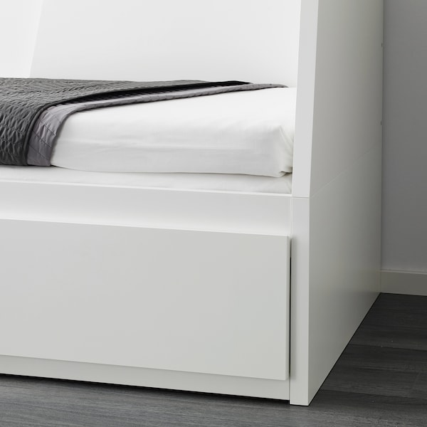 FLEKKE Day-bed frame with 2 drawers, white, 80x200 cm