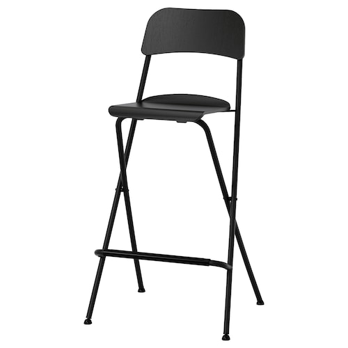 FRANKLIN bar stool with backrest, foldable black/black 110 kg 52 cm 44 cm 103 cm 34 cm 34 cm 74 cm