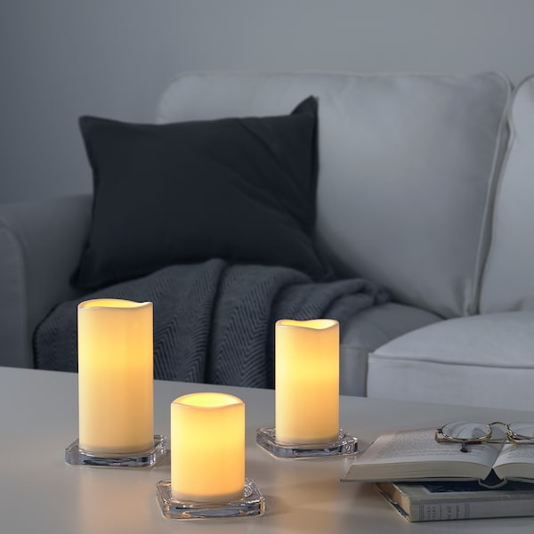 GODAFTON LED block candle in/out, set of 3, battery-operated/natural