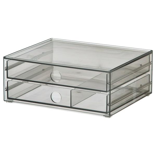 GODMORGON Mini chest with 2 drawers, smoked, 23x19x9 cm