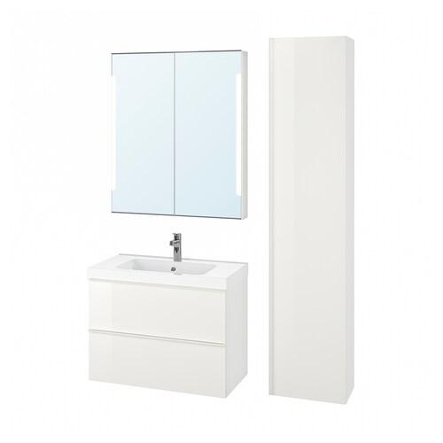 GODMORGON / ODENSVIK bathroom furniture, set of 5 high-gloss white/Brogrund tap 83 cm 60 cm 49 cm 89 cm