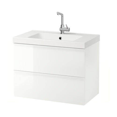 GODMORGON / ODENSVIK Wash-stand with 2 drawers - high-gloss white - IKEA
