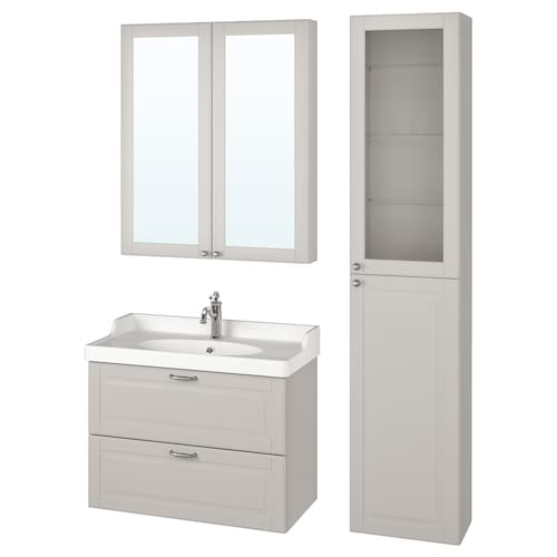 GODMORGON / RÄTTVIKEN bathroom furniture, set of 5 Kasjön light grey/Hamnskär tap 82 cm 60 cm 49 cm 89 cm