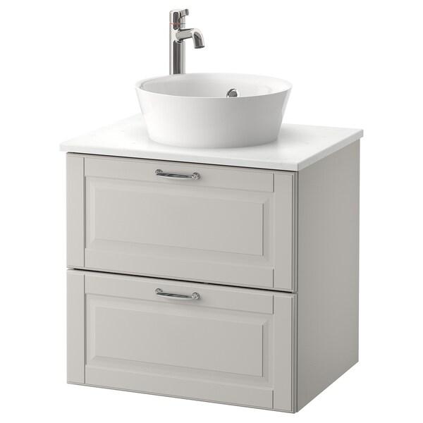 GODMORGON/TOLKEN / KATTEVIK Wsh-stnd w countertop 40 wash-basin, Kasjön light grey/marble effect Voxnan tap, 62x49x75 cm