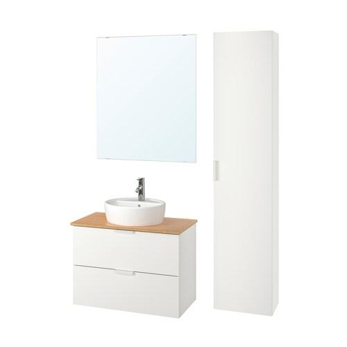 GODMORGON/TOLKEN / TÖRNVIKEN bathroom furniture, set of 6 white/bamboo Dalskär tap 82 cm 80 cm 49 cm 89 cm