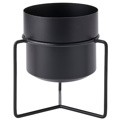 GOJIBÄR Plant pot with stand, in/outdoor black, 15 cm