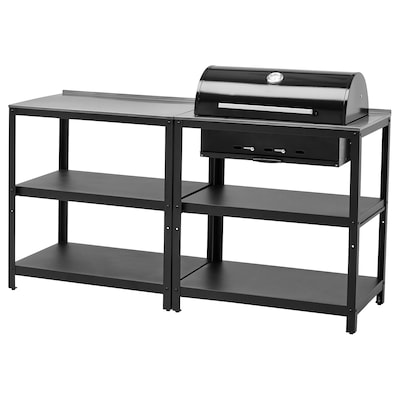 GRILLSKÄR Kitchen with charcoal bbq, outdoor, stainless steel, 172x61 cm