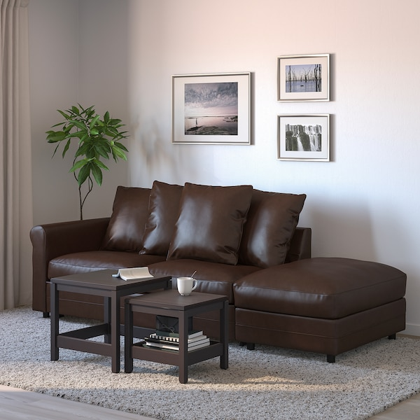 GRÖNLID 3-seat sofa-bed, with open end/Kimstad dark brown