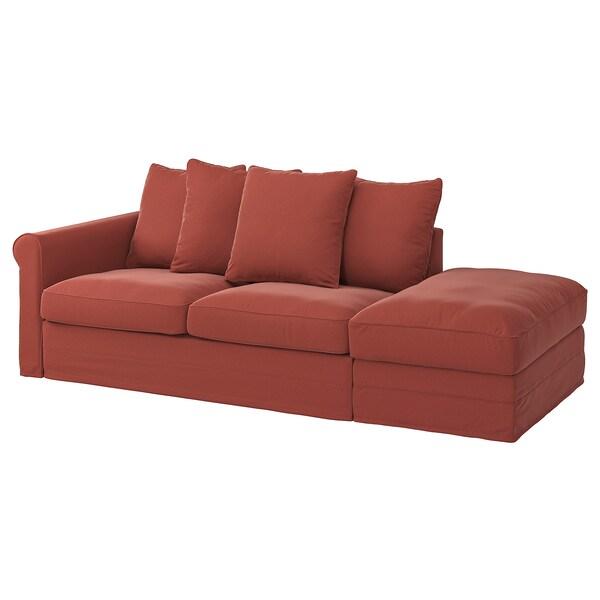 GRÖNLID 3-seat sofa-bed, with open end/Ljungen light red