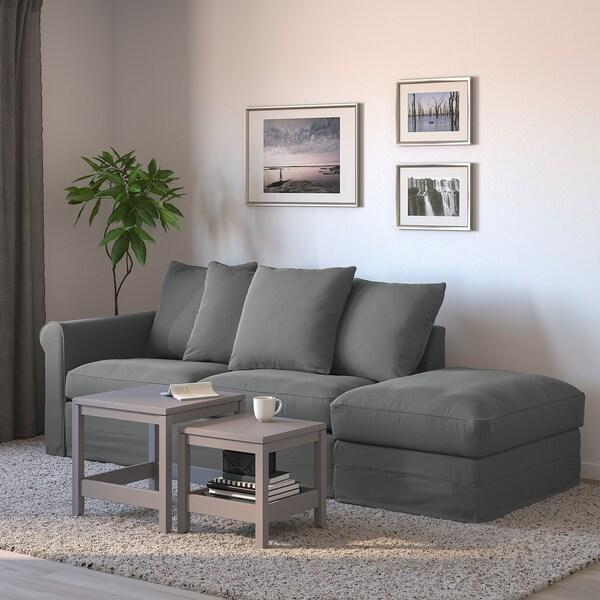 GRÖNLID 3-seat sofa-bed, with open end/Ljungen medium grey